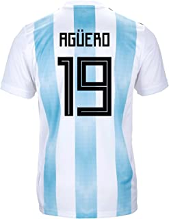 adidas AGÜERO #19 Argentina Official Youth Home Soccer Jersey World Cup Russia 2018