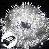HIKENRI Outdoor Christmas led String Lights 500 LEDs 100M/328FT Dimmable Lights String Fairy Lights Transparent String 8 Modes for Bedroom Patio Garden Gate Yard Party Wedding Decoration (Cool White)