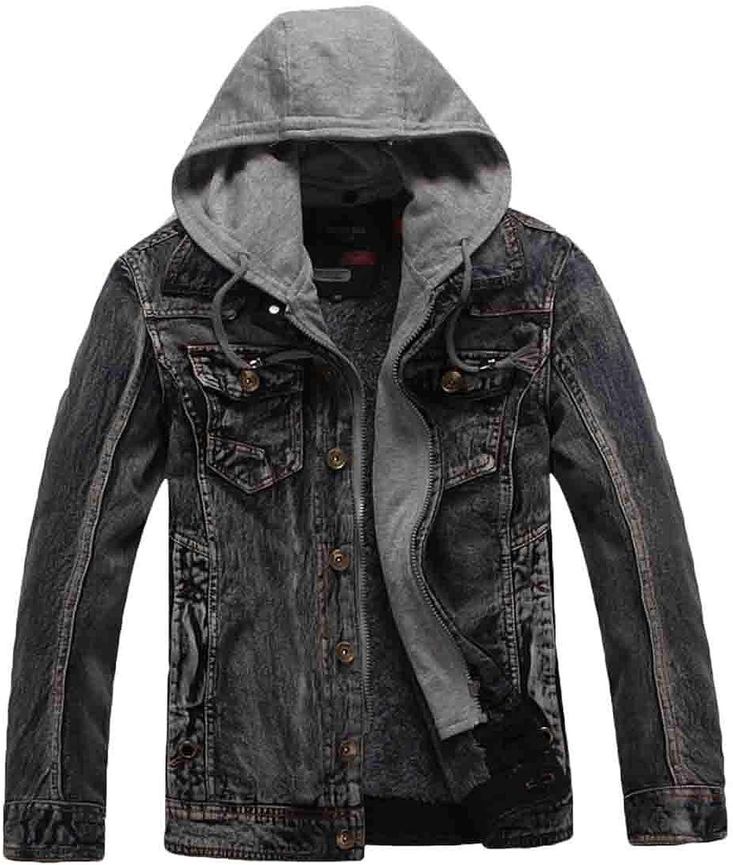 6ec8b318562 WSPLYSPJY Men's Winter Denim Hooded Jacket Slim Fit Casual Jacket Button  Down Jeans Coats Outwear