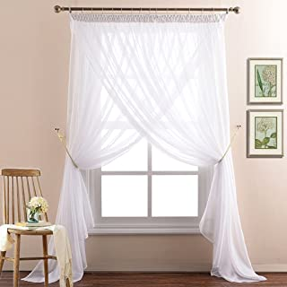NICETOWN 2-Layer Sheer Curtain Panels for Bedroom Elegant Double Layers Voile Draperies for Living Room(Drape Tiebacks, Hooks and Rings Included,110 inches Width x 108 inches Length, White)