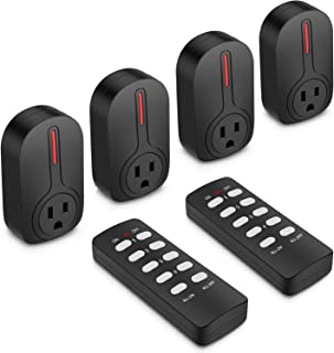 BESTTEN Wireless Remote Control Socket Outlet Switch Set (4 Electrical Outlets, 2 Remotes) with 110 Foot Range, Learning Code, Home Automation Set, ETL Certified, Black