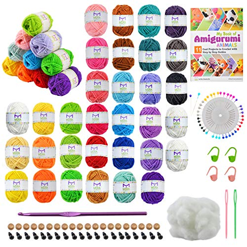 Mira Handcrafts 32 Acrylic Yarns with Real Amigurumi Book – DK Yarn for Crochet and Knitting – 1 Crochet Hook, 2 Needles, 4 Stitch Markers, Pearl Head Sewing Pins Set, Fiber Stuffing, Safety Eyes
