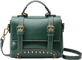 Heshe Vintage Leather Womens Handbag Ladies Designer Purse Shoulder Bag Small Totes Crossbody Bags Flap Purse with Rivets