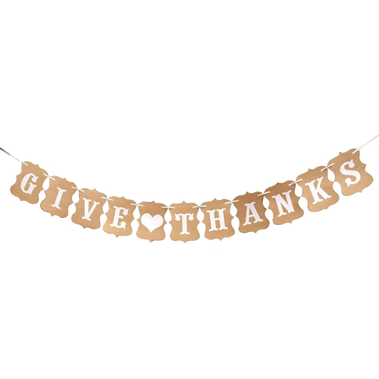 Give Thanks Heart Banner Style – No DIY Required, Sturdy Kraft Paper   Great for Thanksgiving Day Décor Supplies, Vintage Retro Birthday Backdrop, Baby Bridal Shower, Home Office Accessories, Outdoor