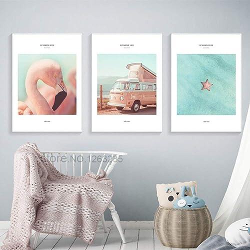 CFGCH Sunshine Life Affiche Nordique, Toile, Peinture, Mur Rose, Images, étoile de mer, décor à la Maison, sans Cadre