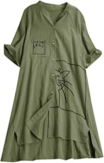Women's Button Plus Size Loose Blouse Linen Swing Vintage Pocket Cat Print Casual Tunic Tops Shirt