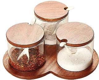 Pots à épices,Cuillères de boîte à épices, Rangement de boîte d'assaisonnement Fournitures de Cuisine boîte d'assaisonneme...