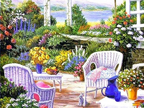 Paint by Number Kits Canvas DIY Pintura al óleo para niños, estudiantes, adultos principiantes con pinceles y pigmentos acrílicos Silla blanca en el jardín 40X50Cm/15.8X19.7Inch