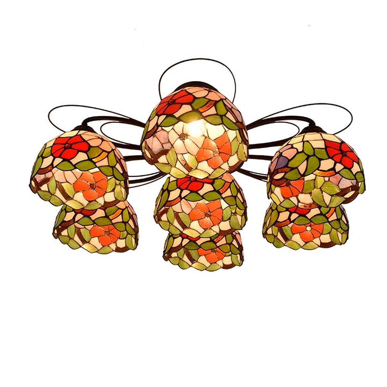 前書きつかいます神経障害HTYJY ティファニー7マルチヘッド天井のランプトリコロールモーニンググローリー塗装済みグラスランプリビングルームダイニングルームベッドルームリビングルーム Tiffany style