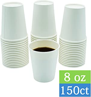 TashiBox Disposable Paper Beverage Hot Coffee Cups To Go, 8oz-150/Pack, White