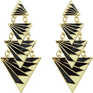 Latest Model Triangle Shaped Long Drop Dangle Earrings with Jewelry Pouch