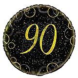 Unique Party- Globo foil de 90 cumpleaños, Color dorado metálico brillante, 45 cm (55840)