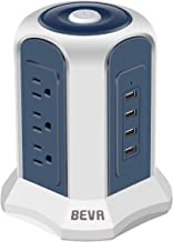 Surge Protector Power Strip Tower - BEVA Desktop Power Strip Tower with 4 USB Ports 9 Outlets,Switch Control Power Outlet Strips Charging Station 6 ft Extension Cable for Office and Home