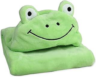 STFLY Kids Frog Plush Animal Blanket Comfy Critters Stuffed Animal Blanket Children Hooded Huggable Critter Blankets Perfect for Boys or Girlss (39 x 39 inches)