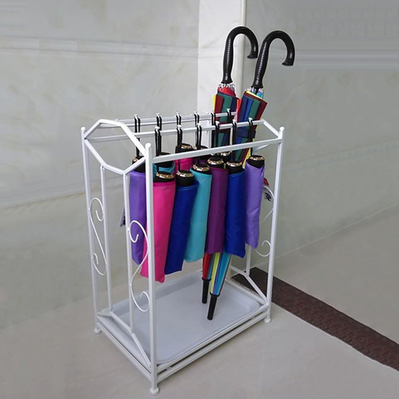 DNSJB Iron Long Short Handle Umbrella Stand,Household Hotel Umbrella Storage Rack 43.5  30  61.5 cm (color   White)