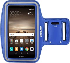Melop Armband for Huawei P10 P20 P30 pro Lite Mate 20 Pro RS Mate 9 8 lite, Honor 8X 7X 5X 5C, Honor 6 7 8 10, Soft Sweat Resistant Sports Gym Arm Band with Key Holder and Card/Cash Pocket - Blue