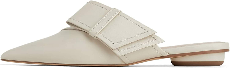 Zara Damen Pantolette aus Leder Leder Leder mit Schleife 1550 001  67eacb