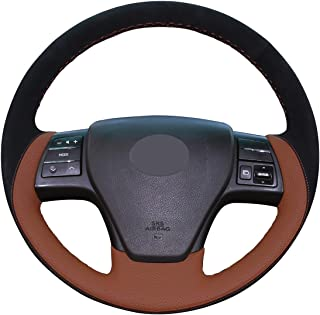 Mewant Hand Sewing Black Suede Brown Leather Customize Steering Wheel Covers for Lexus RX350 2009 RX270 2011