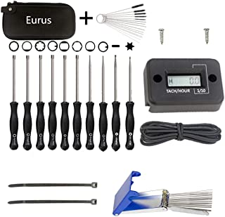 Euros Tachometer Tach Meter + 10Pcs Carburetor Adjustment Tool + Cleaning Tool Set Replace Common 2 Cycle Small Engine ECH...