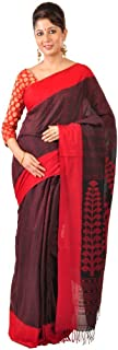 Ruprekha Fashion Women's Fine Cotton Bengal Handloom Saree Black