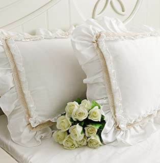 Idyllic Life One Piece Off-White Lace Flounce Ruffle 100% Cotton White Pillowcase 04 (King 20