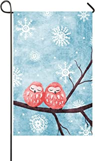 Rossne G sun Pink Owls In Snow Garden Flag House Flag Decoration Double Sided Flag 12.5