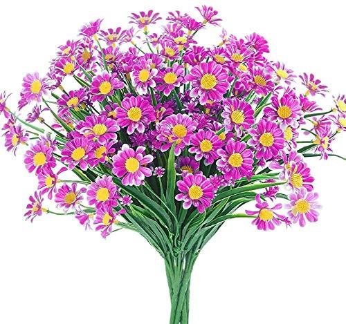 Künstliche Blumen, Blumenkunst, Getrocknete Blumenstrauß, künstliche Gänseblümchen Blumen 4 Packung Outdoor Fake Blumen für Dekoration Kein Fade Faux Kunststoff Blume Garten Veranda Hängen Pflanzer Ba