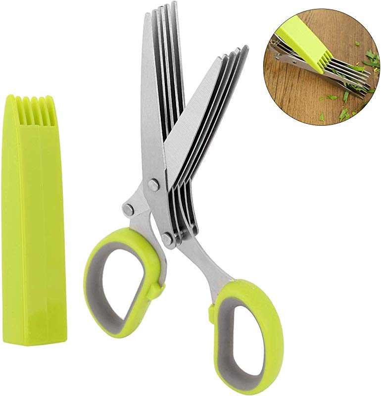 Emoly Herb Scissors Multipurpose 5 Blade Kitchen Cutting Shear With Safety Cover And Cleaning Comb
