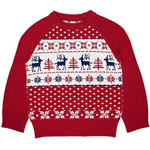 Blueberry Pet Pull Moche de Noël pour Enfants Unisex avec Motifs de Rennes Rouge Tango et Bleu Marine Taille: 3T US (90 FR)