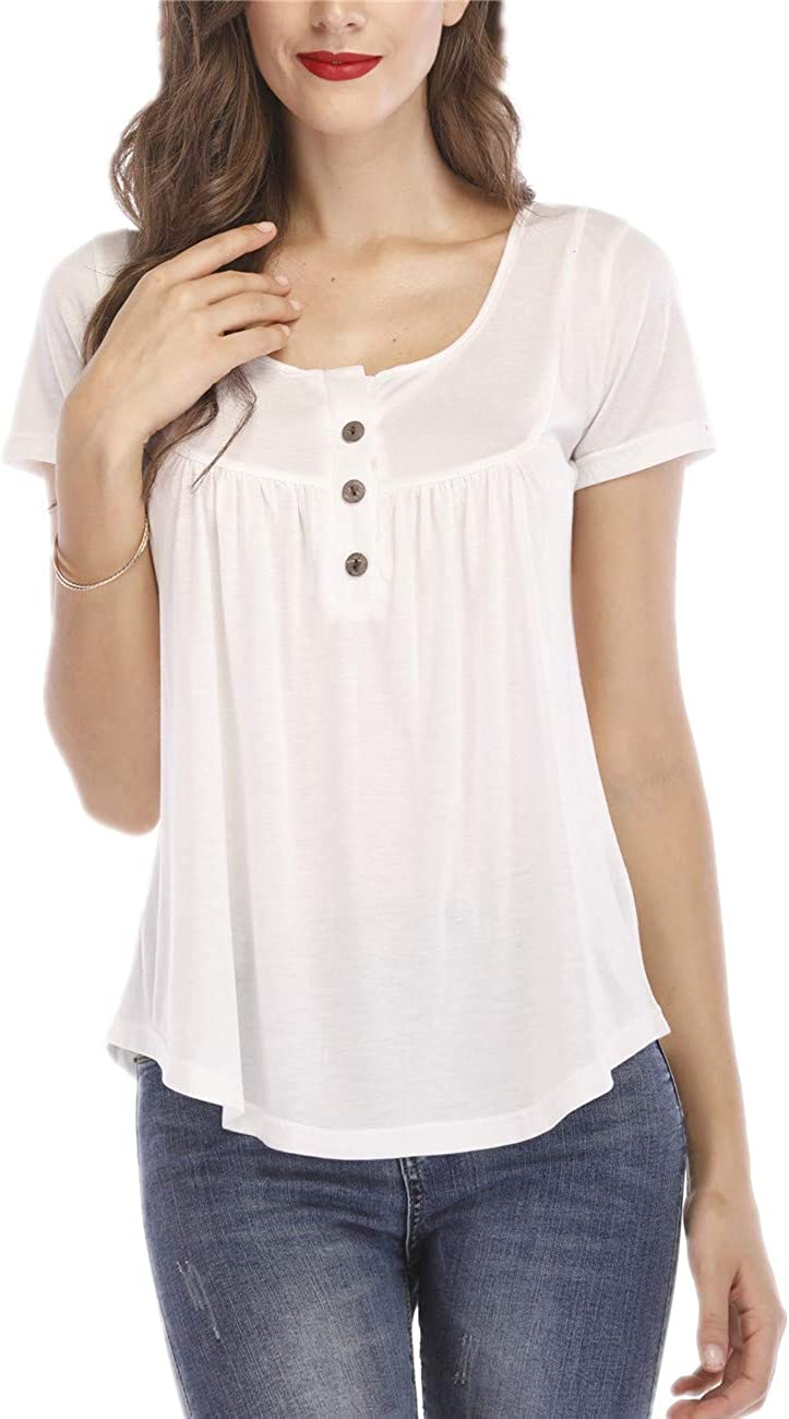 EVERICH Women's Summer Casual Loose Tops Henley V Neck Tunic Blouse Short Sleeve Button Up Shirts