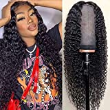 Blomas Deep Wave Lace Frontal Wig Human Hair T-Part Human Hair Wigs for Women Brazilian Curly Human Hair Wig with Baby Hair Middle Part 150% Density Natural Color 24 Inch