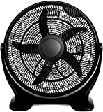 HealSmart 20 Inch 3-Speed Plastic Floor Fans Oscillating Quiet for Home Commercial, Residential, and Greenhouse Use, Outdoor/Indoor, Black