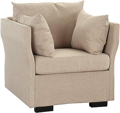 Modern Living Room Linen Fabric Armchair/Accent Chair (Beige)