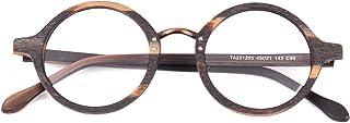 Agstum Retro Round Optical Handmade Glasses Wood Frame Clear Lens