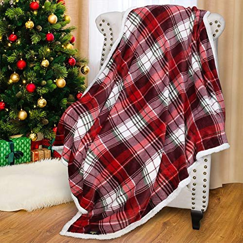 Catalonia Red Buffalo Plaid Sherpa Throw Blanket, Reversible Super Soft Warm Comfy Fuzzy Snuggle Micro Fleece Plush Throws for Bed Couch Sofa TV, 60x50 Inches
