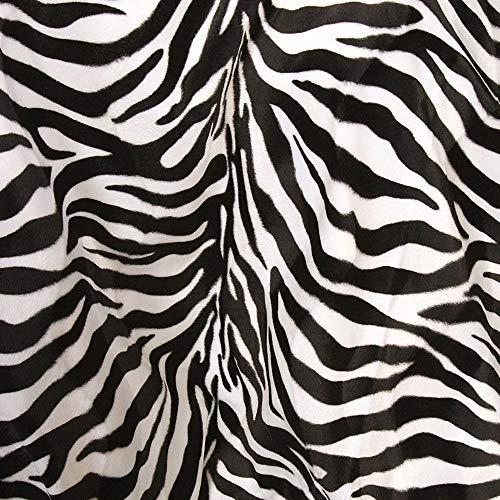 50cm TOLKO Kurzhaar Kunstfell Meterware | robustes Fellimitat mit 2mm Florhöhe | Teddy Plüschstoff Webpelz | zum Nähen, Dekorieren, Polstern und Beziehen | 150cm breit (Zebra)
