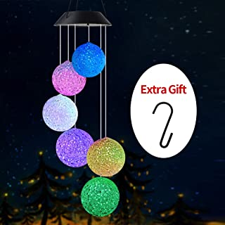 Wind Chimes Outdoor, Gifts for mom, Solar Wind Chimes,Crystal Ball/Butterfly/Hummingbird Wind Chimes,Outdoor Decor, mom Gifts,Gardening Gifts,Grandma Gifts, Plastic Hangers Wind Chimes Solar