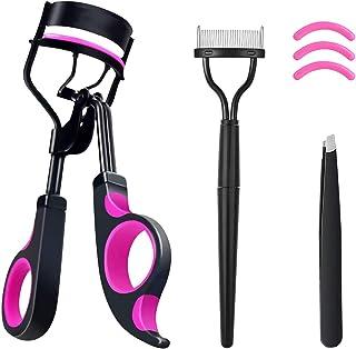 [Gift Box] Eyelash Curler Set, GLORLY Lash Curler Makeup Tools with 3 Silicone Refill Pads, Eyelash Comb, Eyebrow Tweezers...