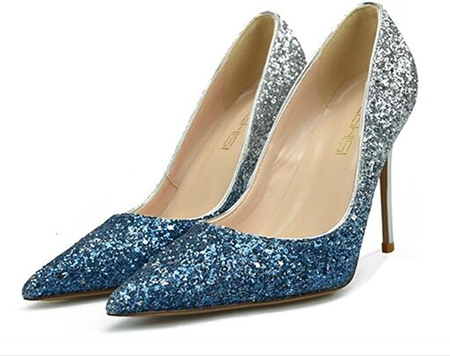XIUWU Women's Glitering Evening Party Pumps High Heels