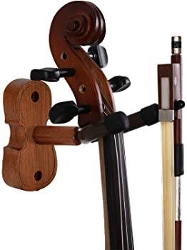 Rosewood Violin Wall Hanger with Bow Hook Home & Studio Wall Mount Violin Stand (Rosewood MA-R5)