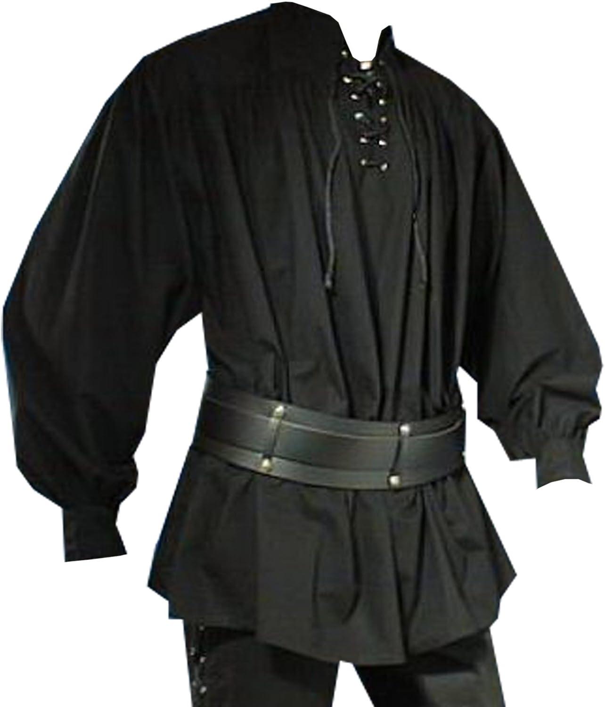Medieval pirata Camisa con cuello alto, color negro, tallas S – XXL