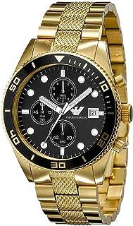 Gold Black Date Dial 43mm Men Chronograph Wrist Watch AR5857