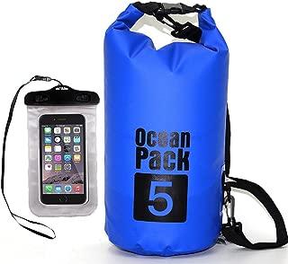 Premium Waterproof Dry Bag,  AfooBezos 5L/10L/20L Roll Top Sack Keeps Gear Dry,  Detachable Adjustable Shoulder Strap Floating Dry Sack for Kayaking, Swimming, Rafting, Fishing with Waterproof Phone Case