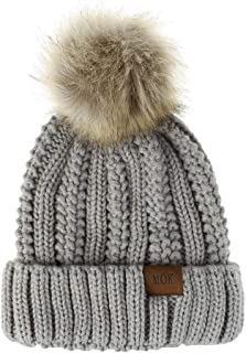 New Winter Hat Women Winter Hat with Hairball Solid Color Knitted Thick Outdoor Cap Casual Fashion Female Wool Beanie Hat Warm and Cozy (Color : Gray)