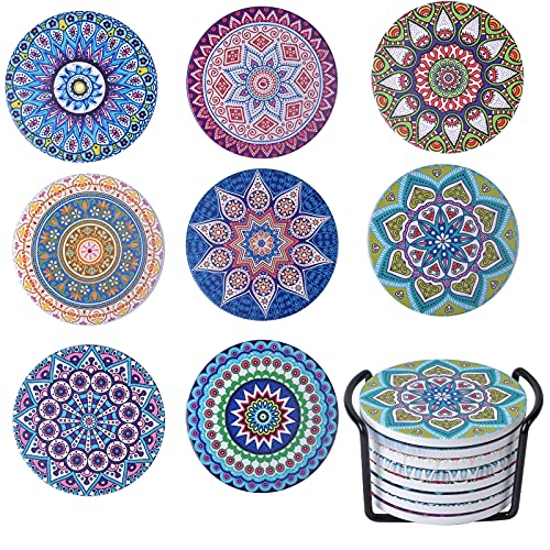 HQdeal 8 Pezzi Sottobicchieri in Ceramica con Motivo Mandala Floreale, Sottobicchieri per Bevande, Sottobicchieri Assorbenti con Supporto e base di sughero per Caffè, Cucina, Bevanda, Boccale, Vino