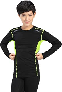 Happy Cherry Boys Athletic Long Sleeve Compression Base Layer Sport Shirt  Clothing Active Base Layers