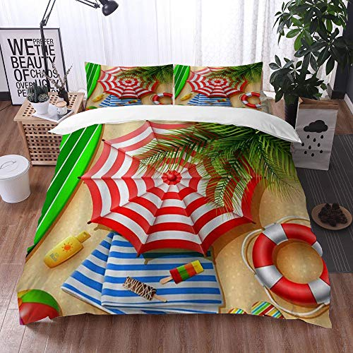 Yuxiang Bedding Sets Duvet Cover Set, Sand Beach Palm Leaves Surfboard Lifebuoy,3-Piece Comforter Cover Set 200 x 200 cm +2 Pillowcases 50 * 80cm