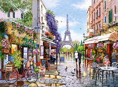 WOMGD® Puzzels 1000 stukjes, voor houten puzzels voor kinderen, Beroemd landschap Educatief spel Brain Challenge Puzzle (Bloemenmarkt Parijs)