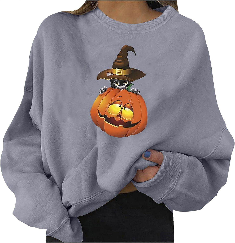 Halloween Sweatshirts for Women Casual Long Sleeve Halloween Pumpkin Cats Fashion Crewneck Cute Pullover Sweater Shirt