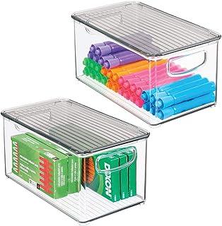 mDesign boite stockage à poignées intégrées en lot de 2 – boite rangement avec couvercle pour la cuisine, la salle de bain...